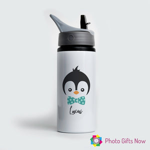 Personalised Metal 625 ml || Flip Top Water Bottle || BPA free || Penguin