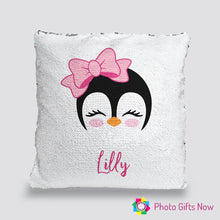 Load image into Gallery viewer, Personalised Sequin Cushion || Magic Reveal || Penguin Design