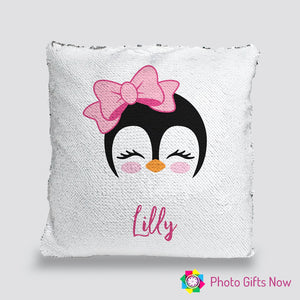Personalised Sequin Cushion || Magic Reveal || Penguin Design