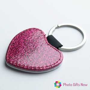 Personalised Glitter Faux Leather Photo keyring || Heart || Circle