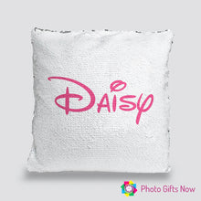 Load image into Gallery viewer, Personalised Sequin Cushion || Magic Reveal || Disney Style Text