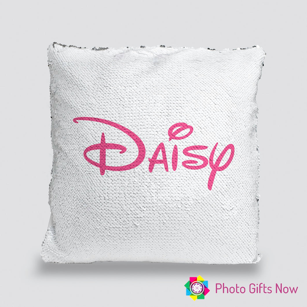 Personalised Sequin Cushion || Magic Reveal || Disney Style Text
