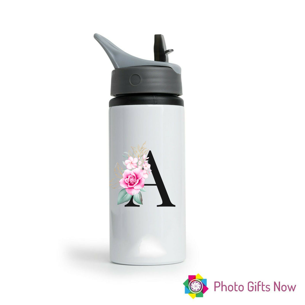Personalised Metal 625 ml || Flip Top Water Bottle || BPA free || Black Initials