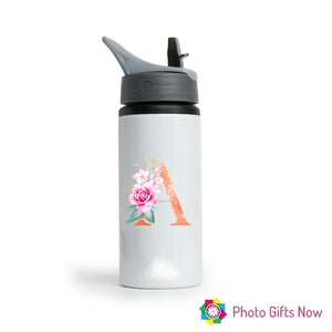 Personalised Metal 625 ml || Flip Top Water Bottle || BPA free || Glitter Initials.