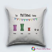 Load image into Gallery viewer, Personalised Luxury Soft Linen Cushion || Wellie Family