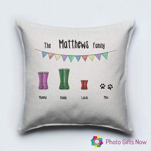 Personalised Luxury Soft Linen Cushion || Wellie Family