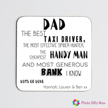 Load image into Gallery viewer, FATHER'S DAY || Personalised Hardboard Coasters || Coffee & Tea