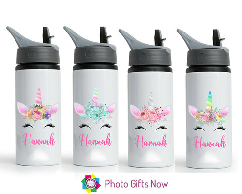 Personalised Metal 625 ml || Flip Top Water Bottle || BPA free || Spring Unicorn || Design