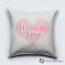 Load image into Gallery viewer, Personalised Luxury Soft Linen Cushion || Heart Word Collage
