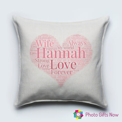 Personalised Luxury Soft Linen Cushion || Heart Cushion || Personalised Words ||