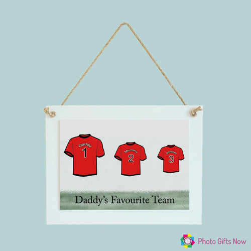 Personalised Rectangle Photo Hanging Sign|| Family Football Shirt