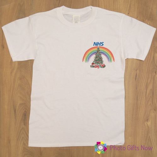 RAINBOW CHRISTMAS TREE Ladies Fit T-Shirt || NHS || Can be personalised