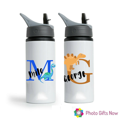 Personalised Metal 625 ml || Flip Top Water Bottle || BPA free || Dinosaur Design