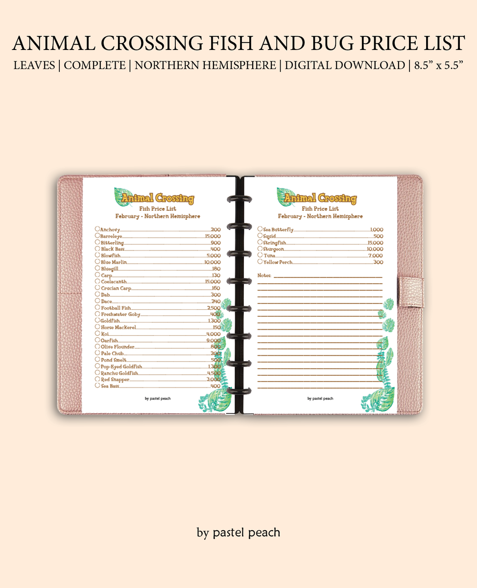 Printable Animal Crossing Complete Fish And Bug Guide Nothern Hemisph Bypastelpeach Decorate your avatar, camper and campgrounds, befriend the animal villagers around the nearby areas, collect. pastel peach