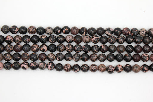 8mm black impression jasper, glossy, 1 strand, 16 inches, approx. 48 beads.