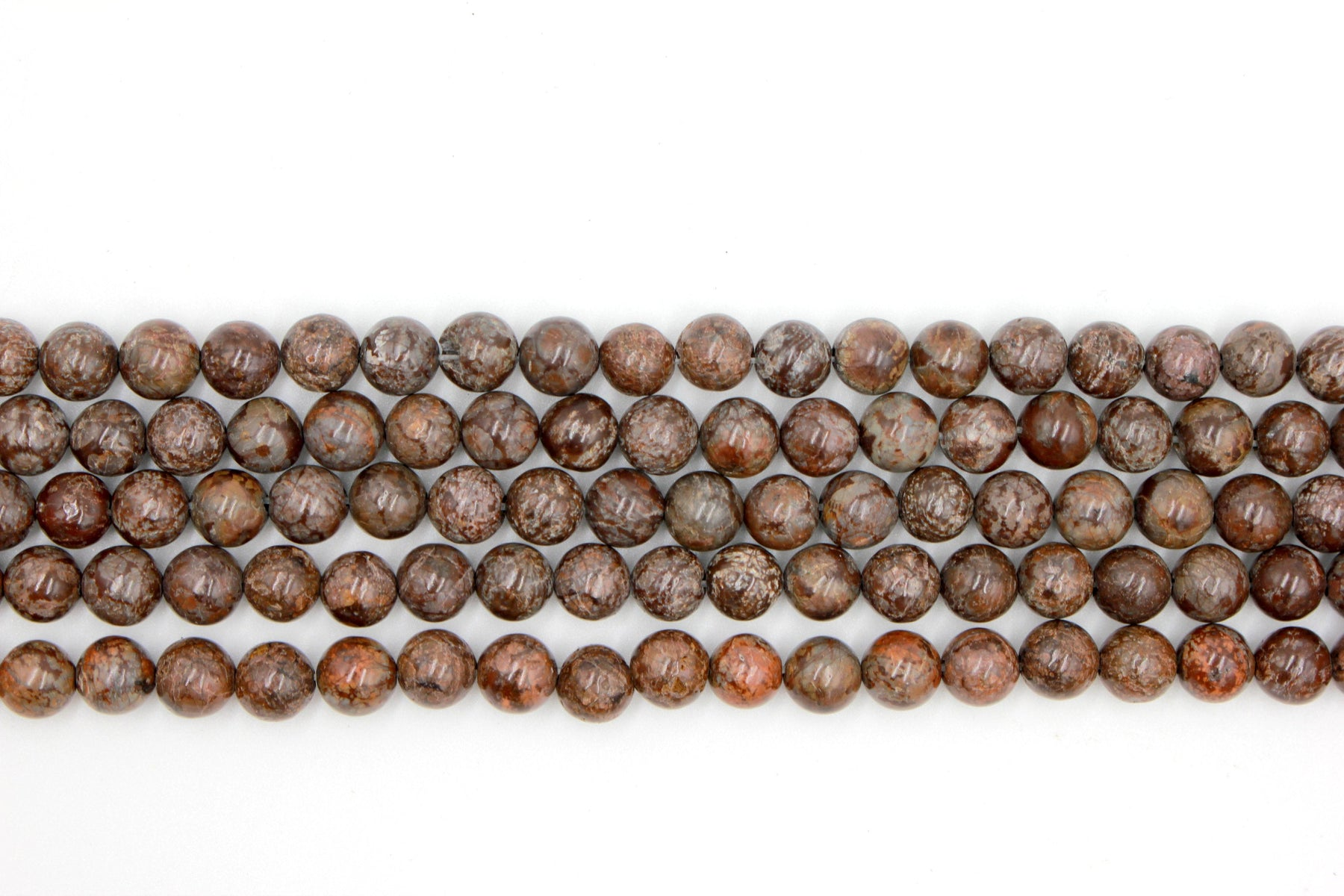 8mm brown snowflake jasper, glossy, 1 strand, 16 inches, approx. 48 beads.