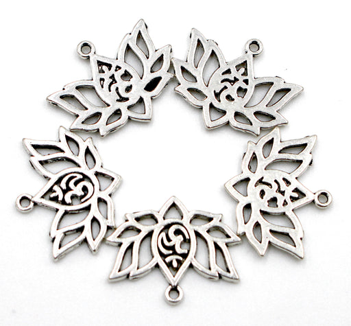 om lotus charms, 20mmx16mm, sold as 10 pieces, antique silver charms, mixed metal, lotus charm, yoga charm, om charm,