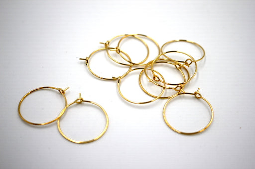 earring hoops, 24k gold plated brass, 20 x 20mm, 20 pieces, gold earrings, ear ring hoops, hoop ear ring,