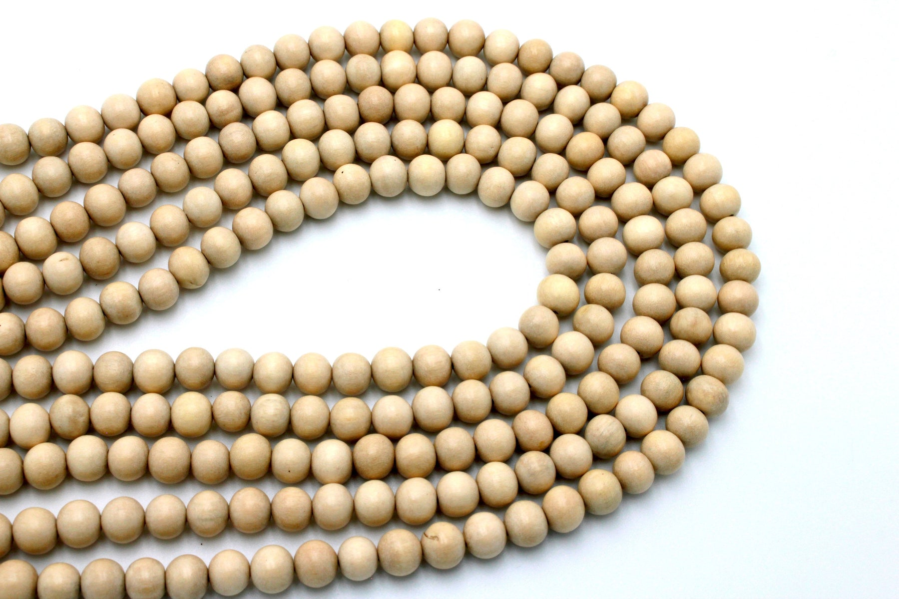 beige wood beads, 8mm, round, waxed, 1 strand, 16 inches, approx. 48 beads, round wood beads, jewelry supplies, beading supplies