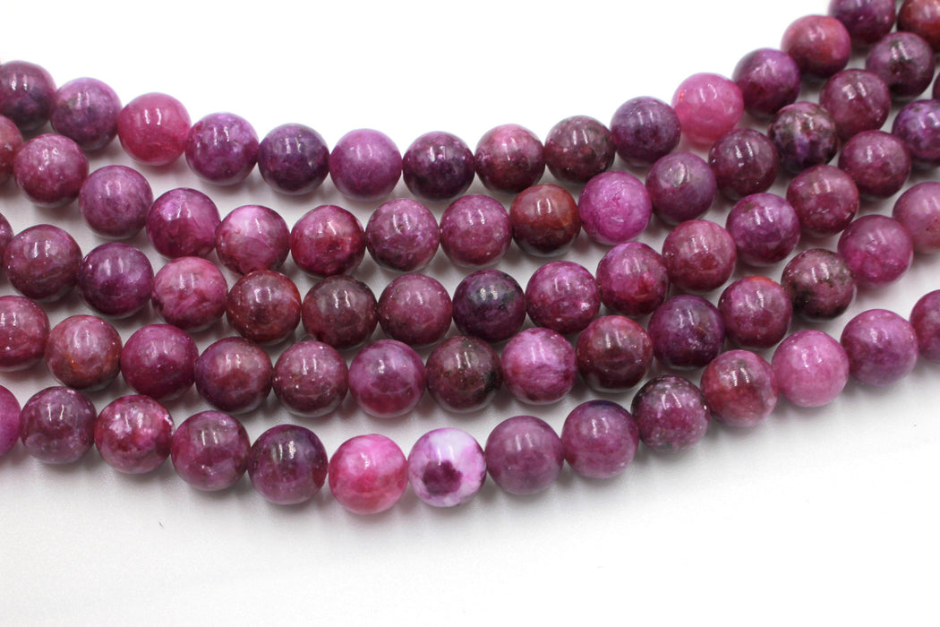 8mm lepidolite, glossy, 1 strand, 16 inches, approx. 48 beads.