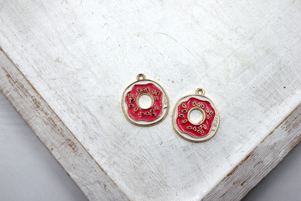 Pink Donut Charms, gold plated charms, donut charms, pink enamel, mixed metal, 23mm x 20mm, hole 1.5mm, sold as 2 pieces.
