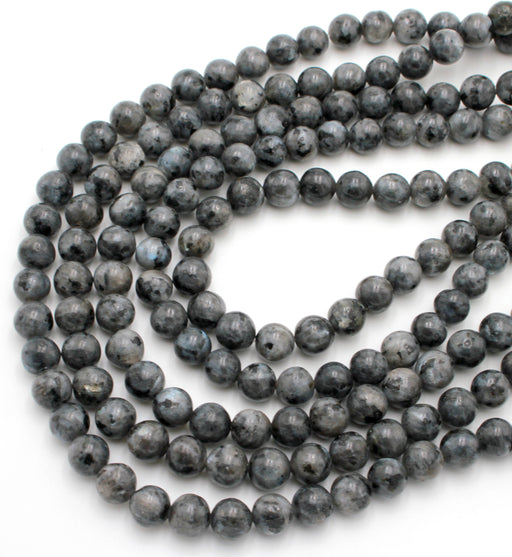 8mm black labradorite, glossy, 1 strand, 16 inches, approx. 48 beads.
