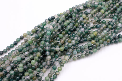 6mm moss agate, glossy, 1 strand, 16 inches, approx. 66 beads.