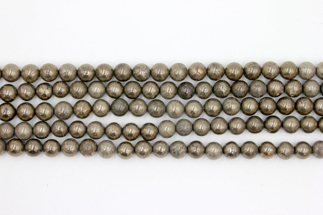 8mm pyrite, round, glossy beads, 1 strand, 16 inches, approx. 48. beads.