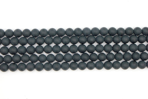 8mm matte black onyx, round, matte beads, 1 strand, 16 inches, approx. 40. beads.