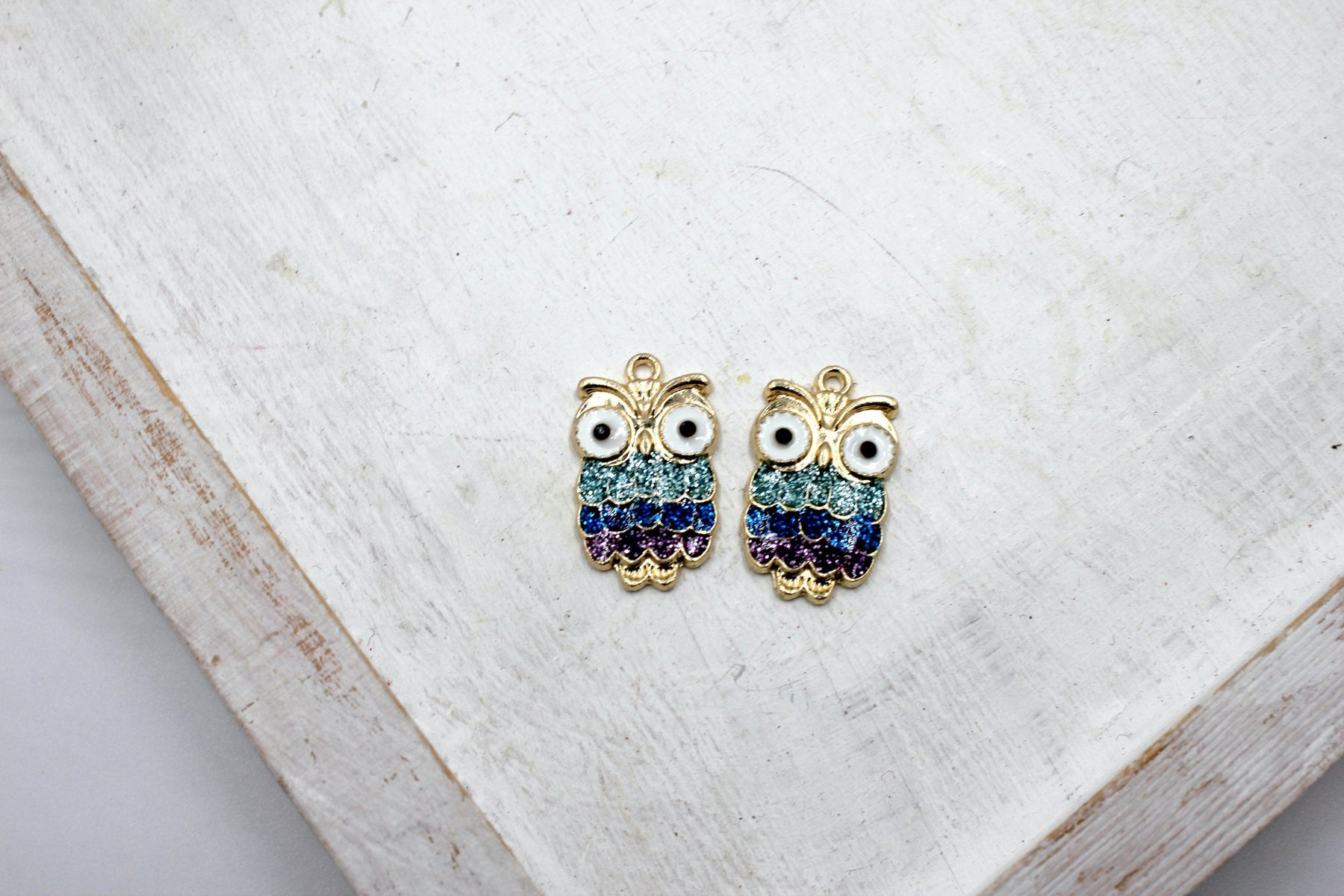 rhinestone owl charm, gold plated charms, owl charms, rhinestone charm, mixed metal, 23mm x 13mm, hole 1.5mm, sold as 2 pieces.