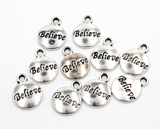 believe charms, antique silver, mixed metal, 12mm x 12mm, sold as 10 pieces., silver charm, round charm, bracelet charm,