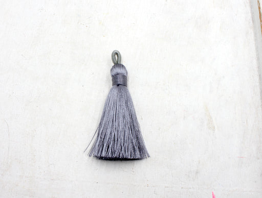 gray tassels, silky nylon, 2 inches, sold as 1 piece, silk tassel, custom tassel, grey tassel, jewelry tassel, custom tassel,