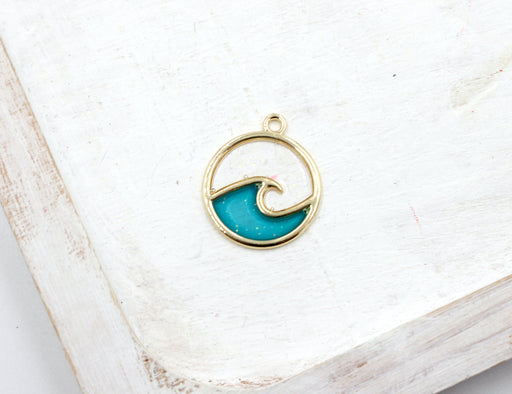 ocean wave charm, gold pendant, ocean charms, blue enamel, mixed metal, 23mm x 20mm, hole 1.5mm, sold as 1 piece.