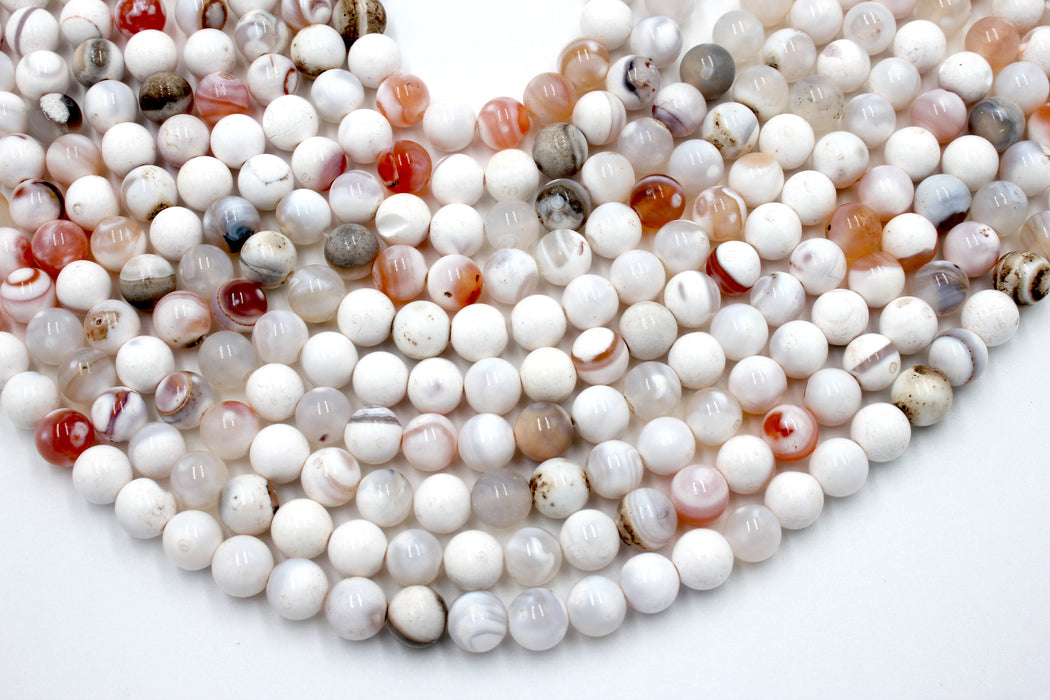 8mm white fire agate, approx 48 beads per strand, jewelry making, gemstone beads, round, glossy,