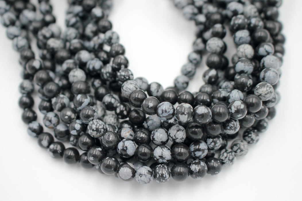 Snowflake Obsidian Gemstone Beads, 6mm, Round