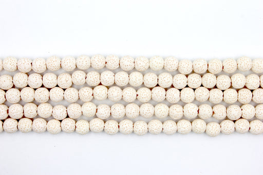 8mm white lava beads