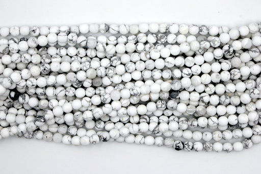 Matte White Howlite Gemstone Beads, 6mm, Round
