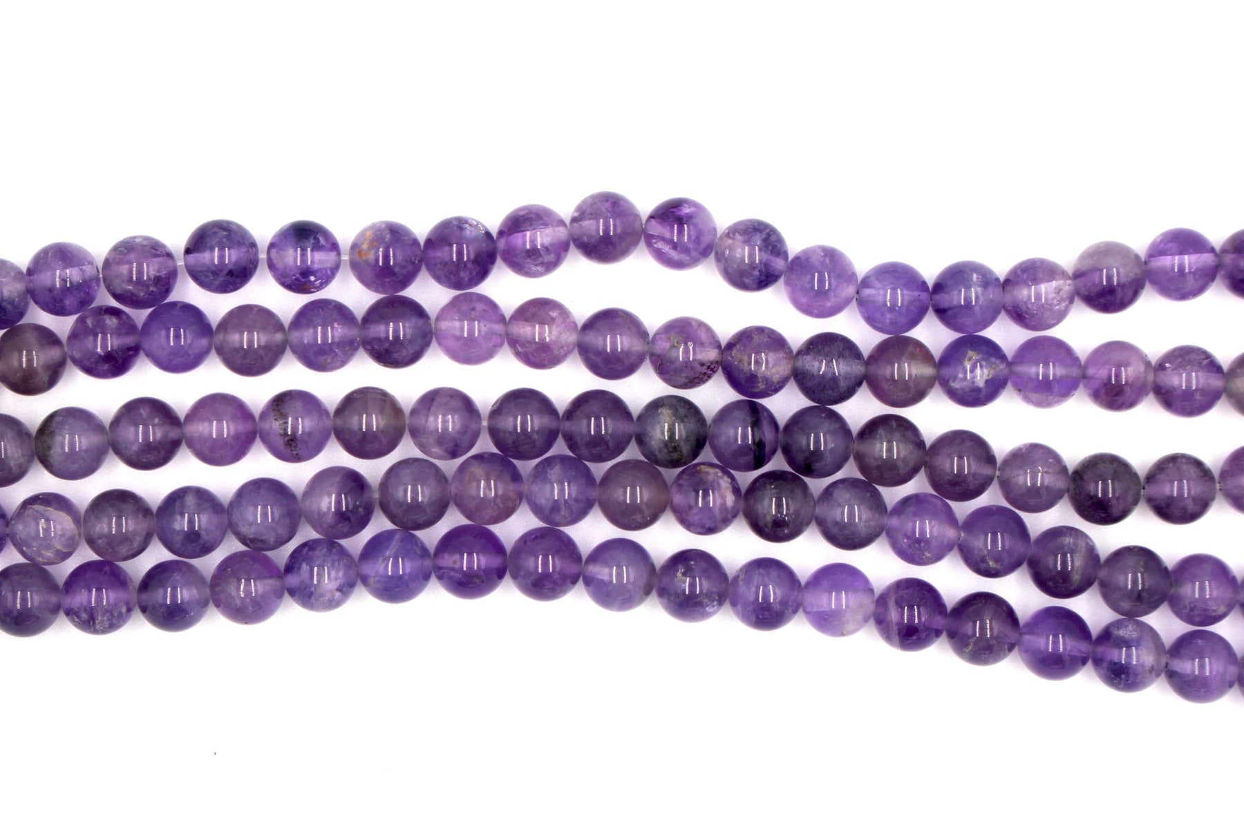 8mm Amethyst, glossy, 1 strand, 16 inches, approx. 48 beads.