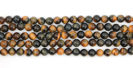 6mm blue tiger eye, round, glossy, 1 strand, 16 inches, approx. 48 beads.
