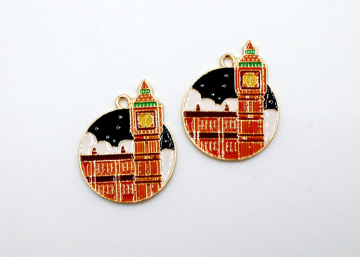 Citadel Charm, building charm, enamel charm, gold plated, bright gold, mixed metal, 29mm x 23mm, hole 1.5mm, sold as 2 pieces.
