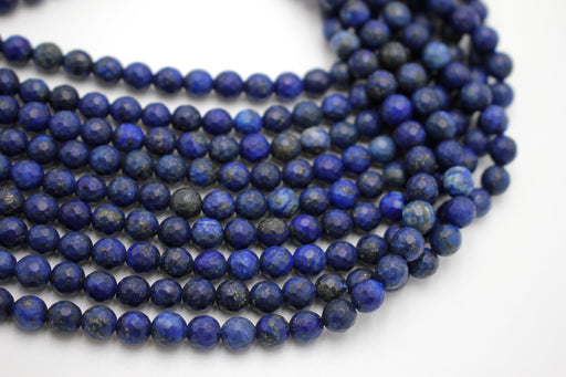 6mm lapis lazuli, faceted, 1 strand, 16 inches, approx. 66 beads.
