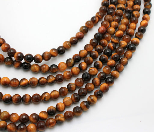 6mm tiger eye, glossy, 1 strand, 16 inches, approx. 66 beads.