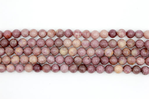 8mm lepidolite beads, round, glossy beads, 1 strand, 16 inches, approx 48 beads per strand.