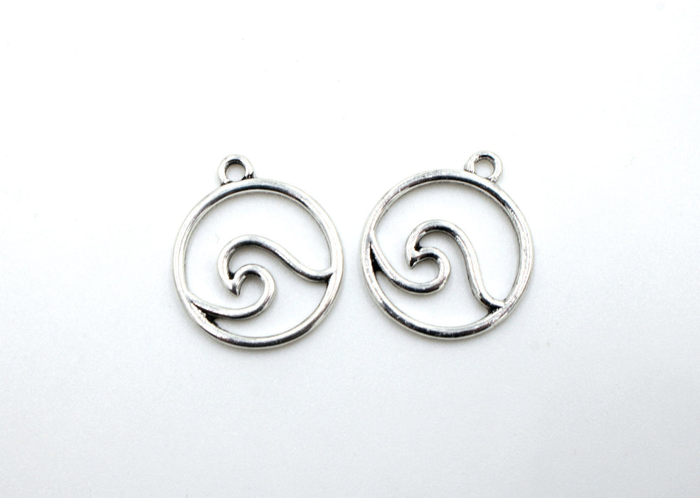 wave charm, ocean charm, silver charms, antique silver, mixed metal, 24mm x 21mm, hole 1.5mm, sold as 2 pieces.