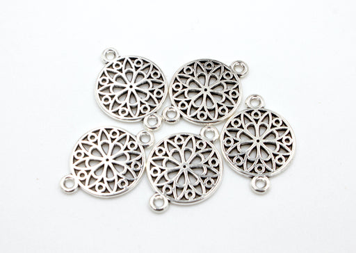 Filigree Connectors, silver connectors, antique silver, mixed metal, 21mm x 14mm, hole 1.5mm, sold as 5 pieces.