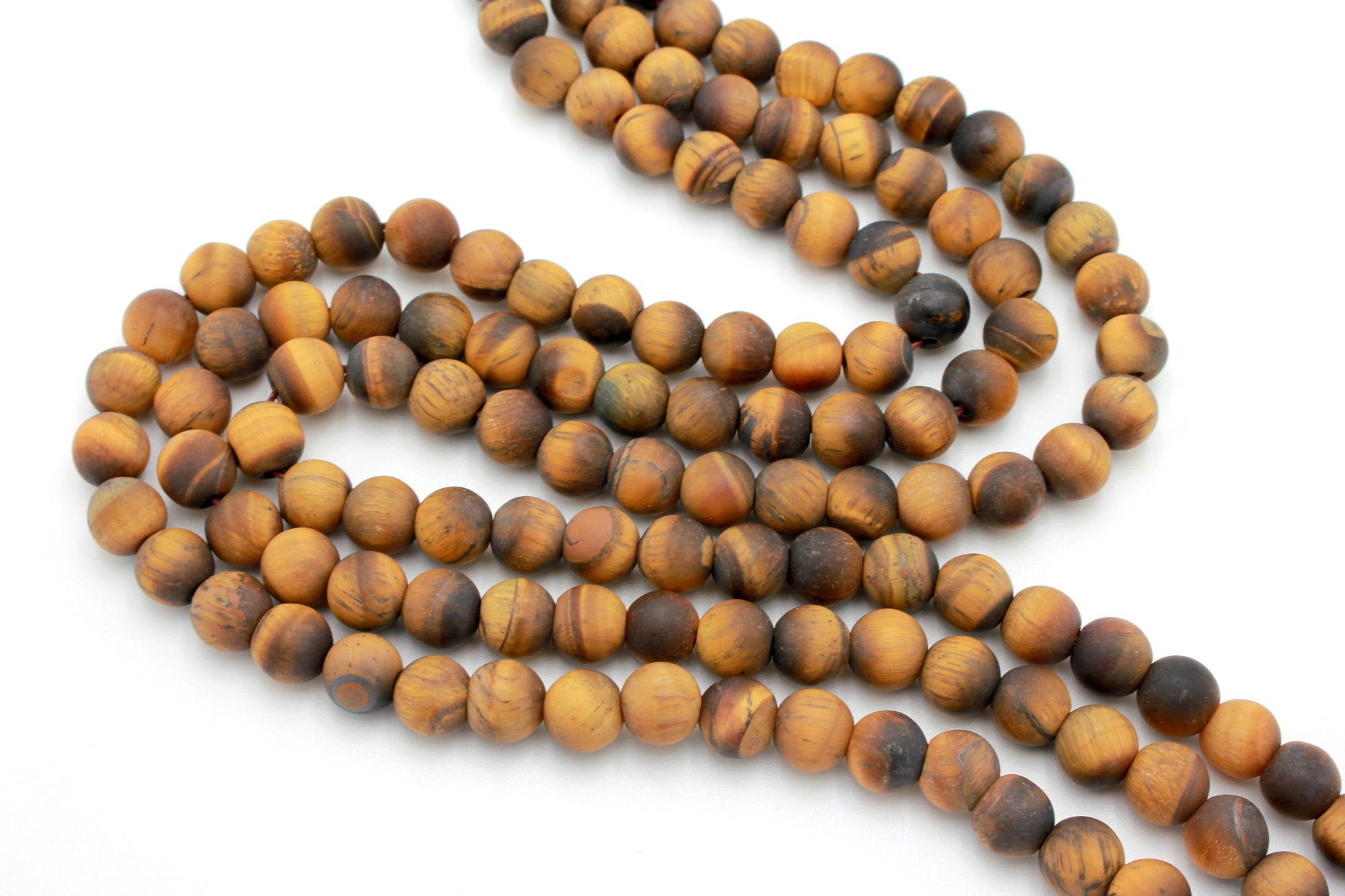 8mm tiger eye, matte, 1 strand, 16 inches, approx. 48 beads.