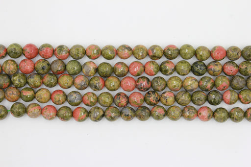 8mm faceted unakite, glossy, 1 strand, 16 inches, approx. 48 beads.