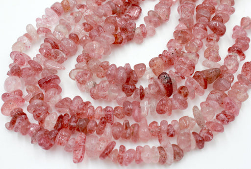 ruby quartz chip beads, natural gemstone chip beads, 5x10mm, chip beads, natural ruby quartz, irregular pebble nugget chips beads