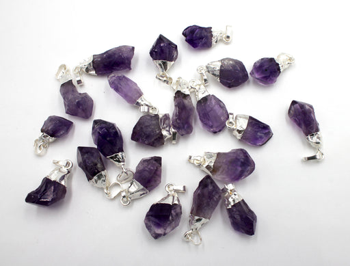 rough amethyst pendant, silver plated pendant, 13-15mm x 20mm, sold as 1 piece, amethyst pendants, rough pendant, nugget pendant,