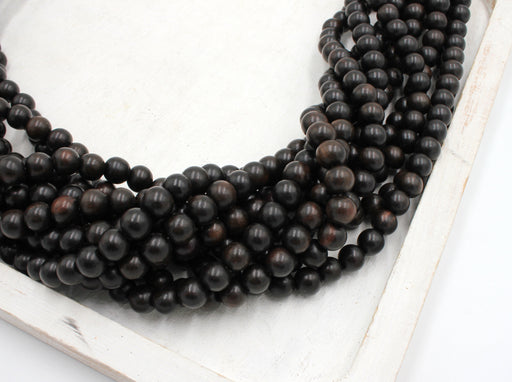 8mm tiger ebony wood beads